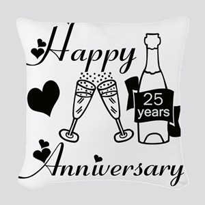 Anniversary black and white 25 Woven Throw Pillow