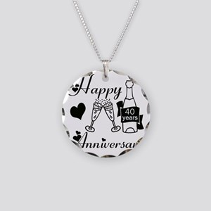 Anniversary black and white  Necklace Circle Charm