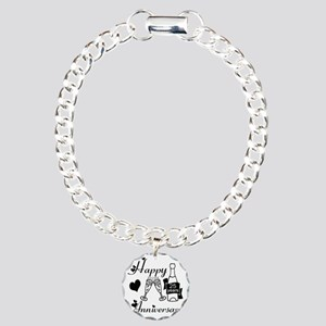 Anniversary black and wh Charm Bracelet, One Charm