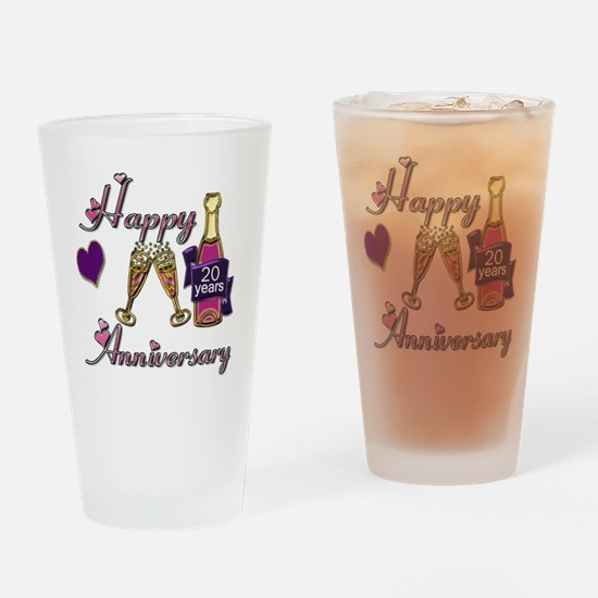 Anniversary pink and purple 20 Drinking Glass