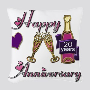 Anniversary pink and purple 20 Woven Throw Pillow