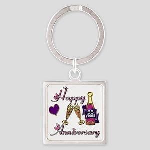 Anniversary pink and purple 55 Square Keychain