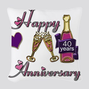Anniversary pink and purple 40 Woven Throw Pillow