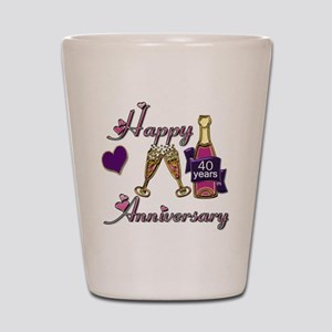 Anniversary pink and purple 40 Shot Glass