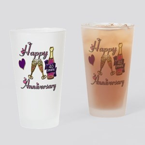 Anniversary pink and purple 40 Drinking Glass