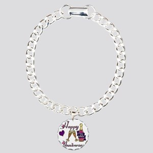Anniversary pink and pur Charm Bracelet, One Charm