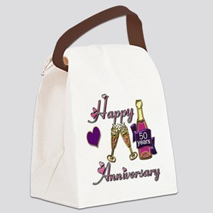 Anniversary pink and purple 50 Canvas Lunch Bag