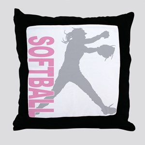 play softball a(blk) Throw Pillow