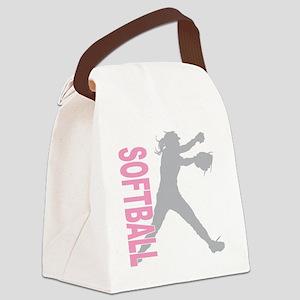 play softball a(blk) Canvas Lunch Bag