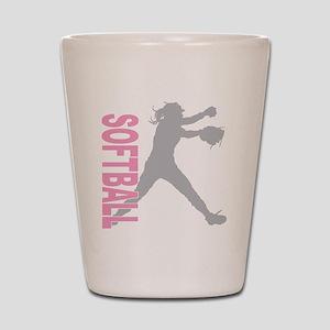 play softball a(blk) Shot Glass