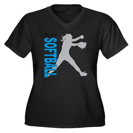 play softbal Women's Plus Size Dark V-Neck T-Shirt