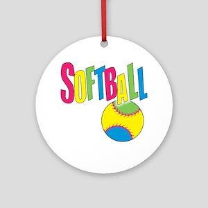 softball(blk) Round Ornament