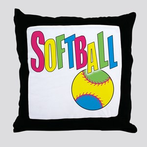softball(blk) Throw Pillow