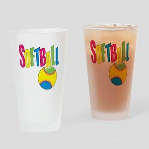 softball(blk) Drinking Glass