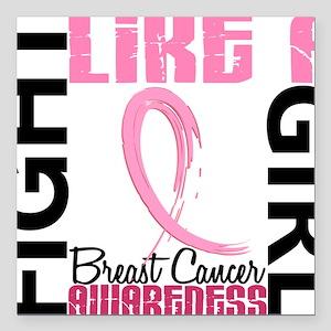 "- Breast Cancer Fight Li Square Car Magnet 3"" x 3"""
