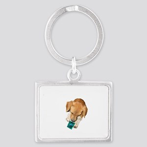 if you think a condom white cop Landscape Keychain
