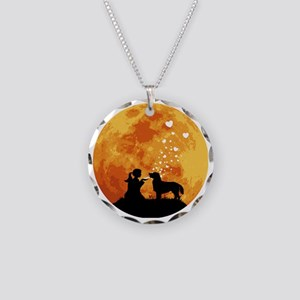 Flat-Coated-Retriever22 Necklace Circle Charm