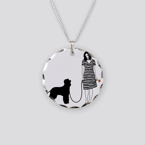 Irish-Water-Spaniel11 Necklace Circle Charm