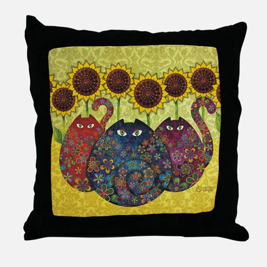 2-gatos Throw Pillow