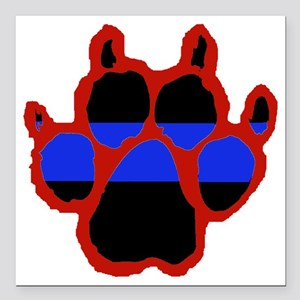 """Red Paw FRONT AND BACK 1 Square Car Magnet 3"""" x 3"""""""