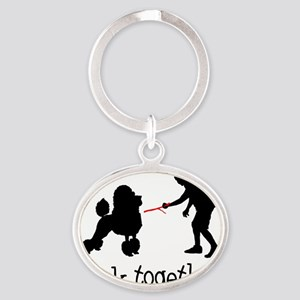 Poodle05 Oval Keychain