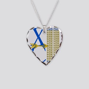 XC Run Blue Gold Necklace Heart Charm