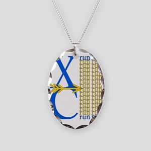 XC Run Blue Gold Necklace Oval Charm