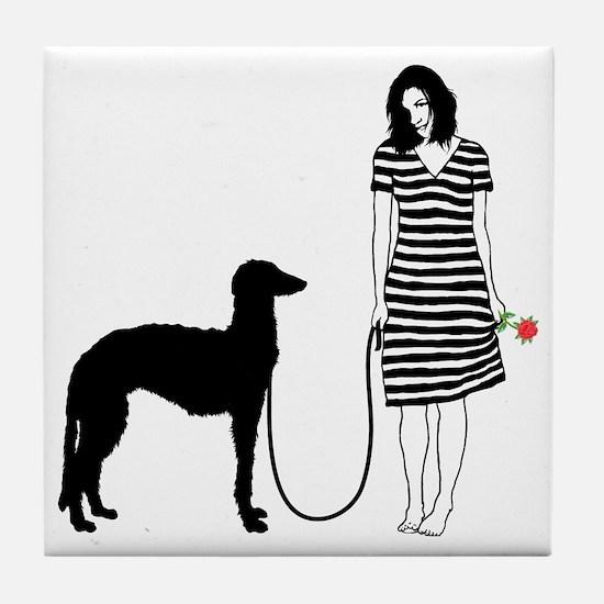Scottish-Deerhound11 Tile Coaster