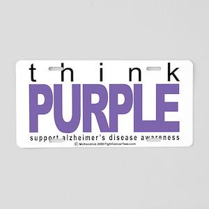 Alzheimers-THINK-Purple Aluminum License Plate