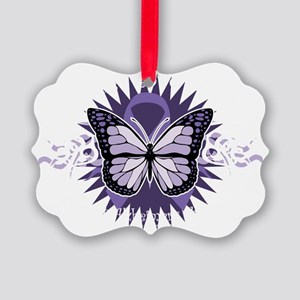 AlzheimersTribal-Butterfly-2009-b Picture Ornament