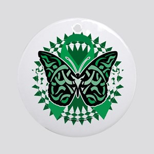 Kidney-Cancer-Butterfly-Tribal-2-bl Round Ornament