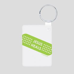 """Jesus Heals"" Aluminum Photo Keychain"