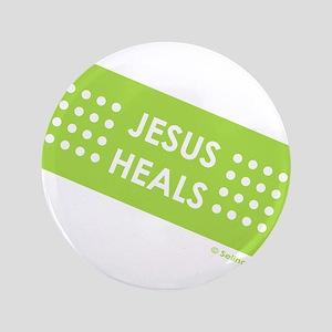"""""""Jesus Heals"""" 3.5"""" Button"""