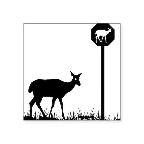 "2-deer shape Square Sticker 3"" x 3"""