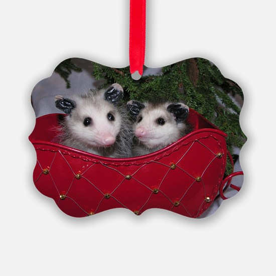 Christmas Opossums in Sleigh Ornament