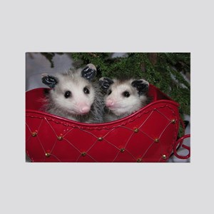 Christmas Opossums in Sleigh Rectangle Magnet