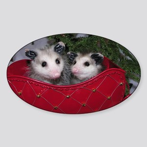 Christmas Opossums in Sleigh Sticker (Oval)