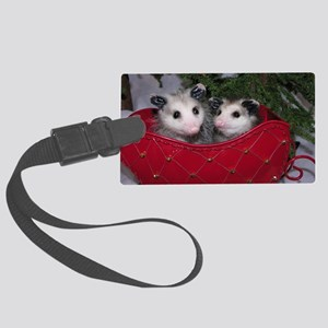 Christmas Opossums in Sleigh Large Luggage Tag