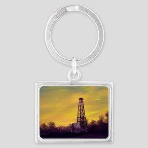 old derick sunset large framed  Landscape Keychain
