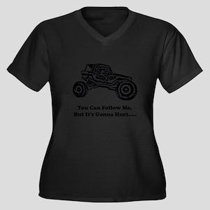 Follow Me_20 Women's Plus Size Dark V-Neck T-Shirt