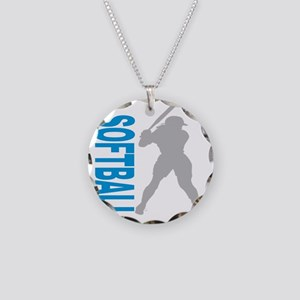 2-play softball bb(blk) Necklace Circle Charm