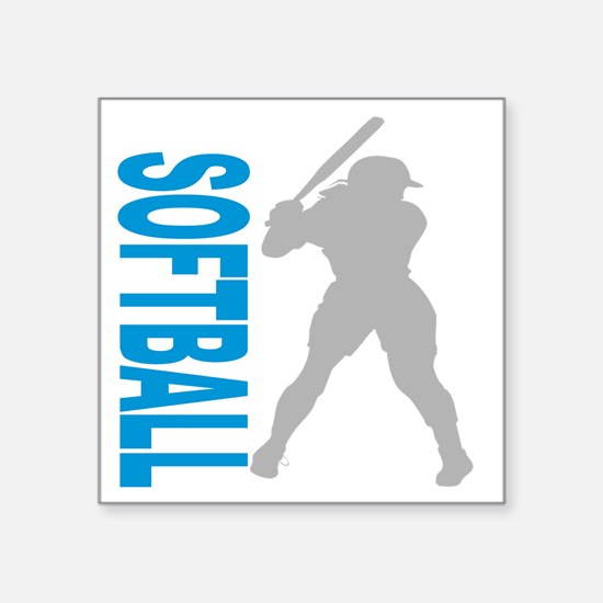 "2-play softball bb(blk) Square Sticker 3"" x 3"""