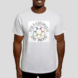 Poly and Proud circle logo Ash Grey T-Shirt
