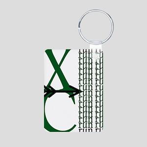 XC Run Green Black Aluminum Photo Keychain