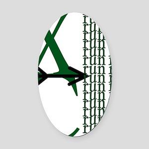 XC Run Green Black Oval Car Magnet