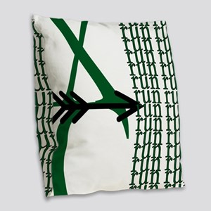 XC Run Green Black Burlap Throw Pillow