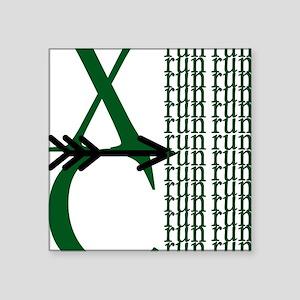 "XC Run Green Black Square Sticker 3"" x 3"""