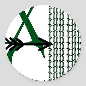XC Run Green Black Round Car Magnet