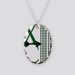 XC Run Green Black Necklace Oval Charm