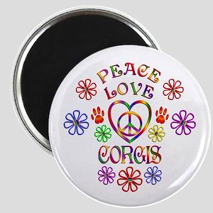 Peace Love Corgis Magnets